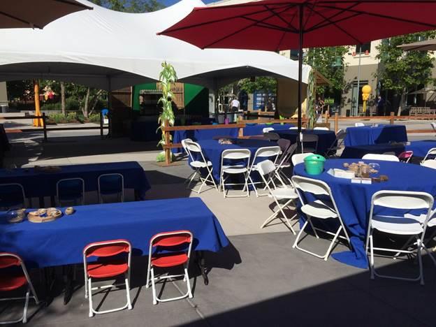Tables, Chairs, Barrels, and Umbrellas